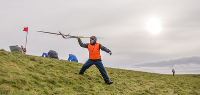 Ian Falconer with his trademark javelin launch.