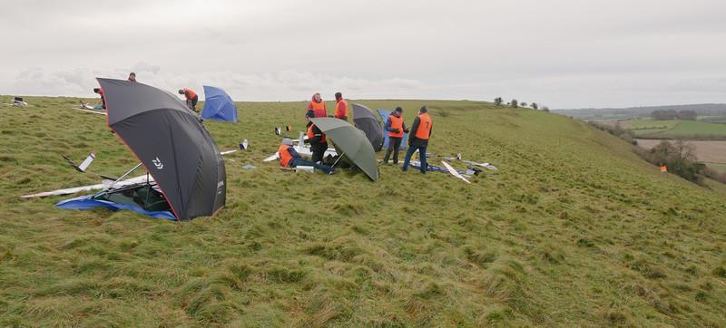 Base camp on NW slope