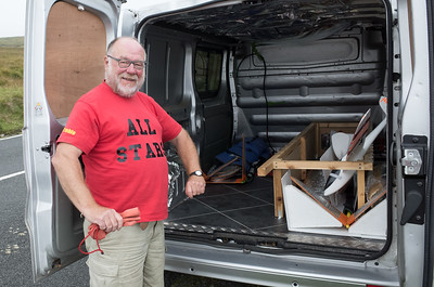 Day Two: John proudly shows his van conversion. Room for six gliders, a bed and a fridge. Nice!