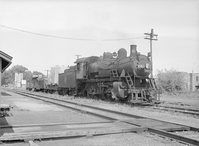 2016.010.FAC6.09167--cole 6x9-8pak neg--CMStP&P--steam locomotive 4-6-0 G7 1083 with work train--Lyons IA--1954 0821