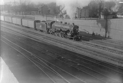 2016.010.FAC1.01689--cole 500 neg--C&NW--steam locomotive 2-8-2 J 2523 on freight train action--West Chicago IL--1929 1103