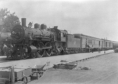 2016.010.FAC1.06144--cole 6x9-8pak neg--C&NW--steam locomotive 4-4-2 D 1019 on passenger train at platform--Rapid City SD--1931 0804