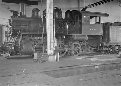 2016.010.FAC1.05430--cole 6x9-8pak neg--C&NW--steam locomotive 0-6-0 M-1 97 inside roundhouse--Madison WI--1930 0818