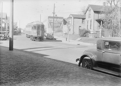 2016.010.FAC5.06504--cole 6x9-12pak neg--CA&E--electric interurban street running scene looing from C&NW station--West Chicago IL--1938 1030