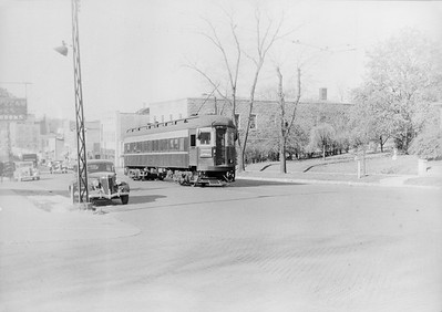 2016.010.FAC5.06505--cole 6x9-12pak neg--CA&E--electric interurban at end of line East Main and 3rd Ave scene--St Charles IL--1938 1030