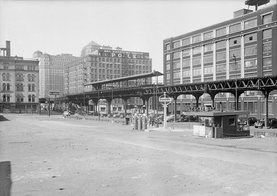 2016.010.FAC5.06695--cole 6x9-12pak neg--Chicago Elevated--old Market St L stub looking northeast at Randolph St station--Chicago IL--1948 0531