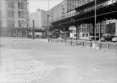 2016.010.FAC5.06698--cole 6x9-12pak neg--Chicago Elevated--old Market St L stub looking northeast at Randolph St station--Chicago IL--1948 0531