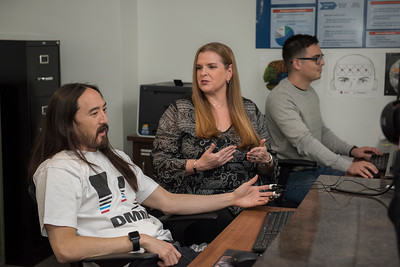 NatGeo Channel's Katie Couric, and DJ Steve Aoki participate in brain testing with the Dominguez Hills Faculty Dr. Nancy Cheever, Dr. Mark Carrier, and Dr. Larry Rosen at the CSUDH Social and Behaviorial Sciences lab