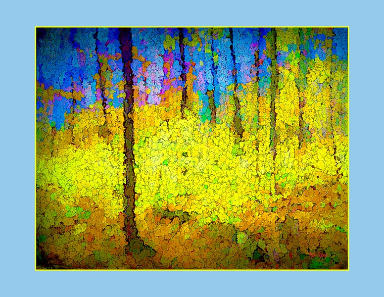 Fall blue and yellow abstract