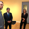 Rebecca Wright the development director for the Fitchburg Art Museum,on right, Mayor Stephen DiNatale, center, and Nick Capasso the Director of the Fitchburg Art Museum talk about the Barr-Klarman $300,000 grant that was given to the museum. SENTINEL & ENTERPRISE/JOHN LOVE