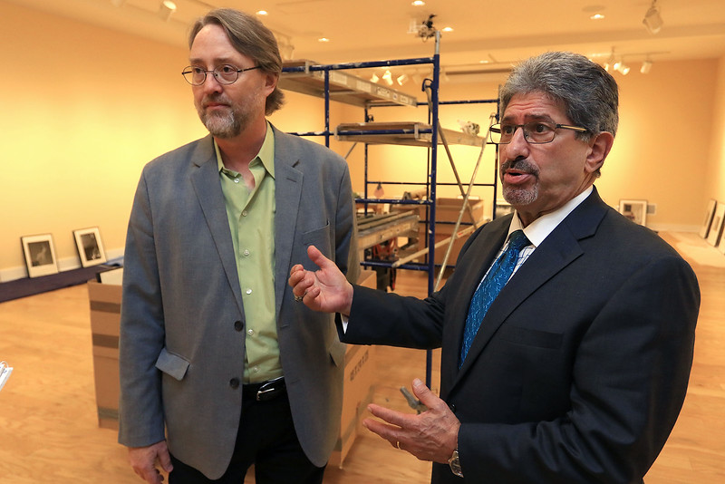Mayor Stephen DiNatale and Nick Capasso the Director of the Fitchburg Art Museum talk about the Barr-Klarman $300,000 grant that was given to the museum. SENTINEL & ENTERPRISE/JOHN LOVE