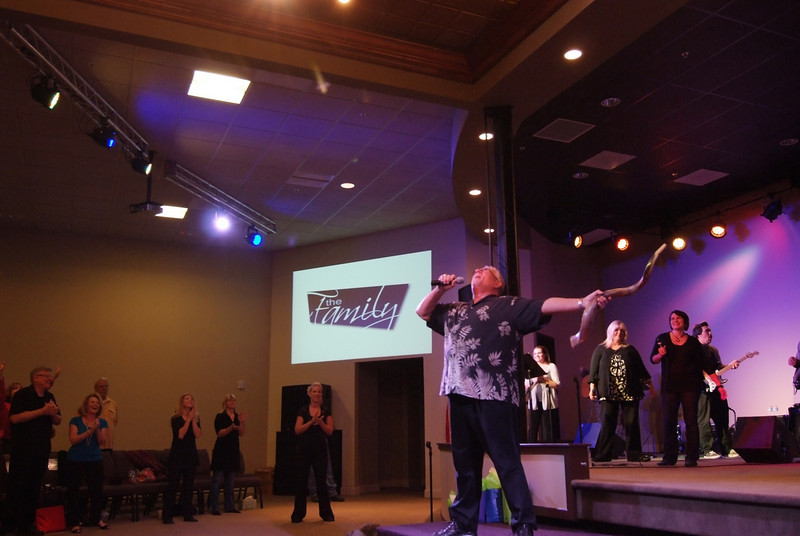 Blowing the Shofar in Celebration ! God has done AWESOME THINGS! Senior Pastor Rich, starting off our First Service in Roseville.