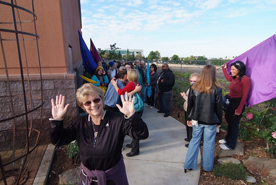 Gretta, the leader of the Worship Walk, celebrating the end of the journey at the new church!