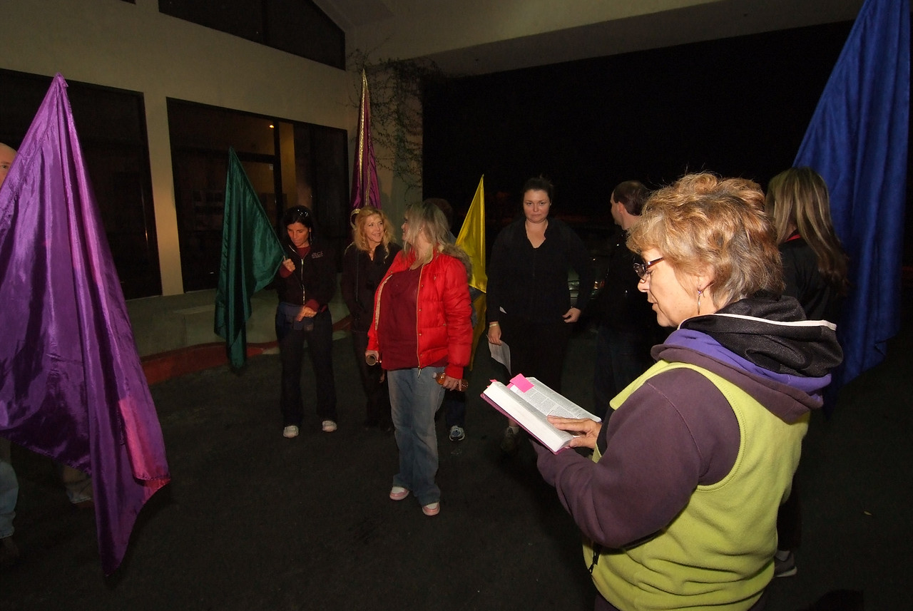 DSCF4987  At 6:45 am, lit by the headlights of a car, the team started off, worshiping and celebrating the journey of crossing over....