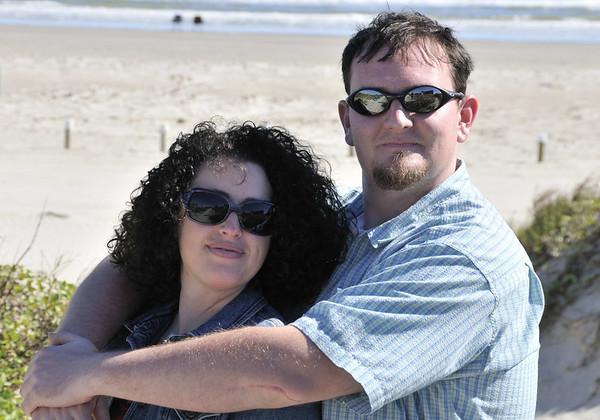 Jessi and Joe on Mustang Island (part of the Padre Island chain) near Kathy's condo at Port Aransas Texas