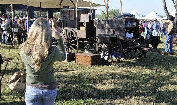 taking pictures of the chuck wagon