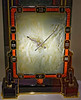 Large Screen clock; Cartier Paris 1926; platinum, gold, white jade, onyx, coral, mother of pearl, diamonds, and enamel