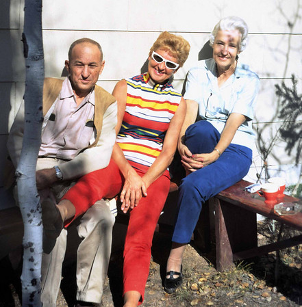 Stan Snyder, Clara, and Thelma Snyder at the cabin near Conifer Colorado, December 1968