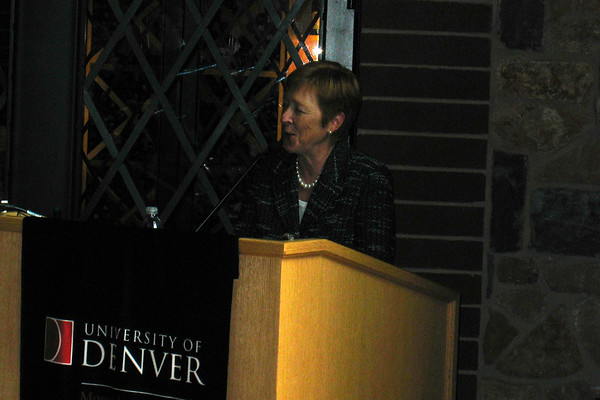 Dean making her introductory remarks at the DU reception.