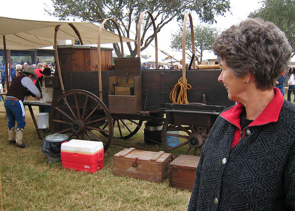 Suzanne and the 1910 John Deere chuck wagon