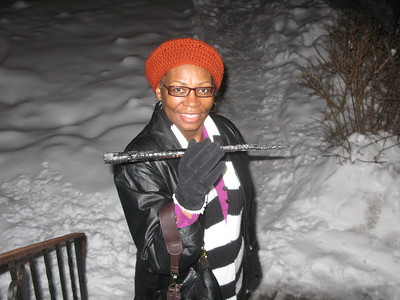 Linda in Buffalo, 2012, first time she saw snow fall.