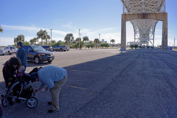 Loading Wyatt, under the Harbor Bridge