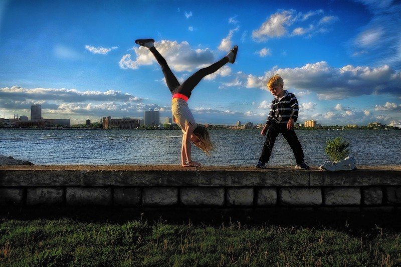 Lucien and Cicely doing handstands