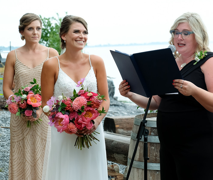 Jackie and Andrea, with Lindsey as wedding Officiant
