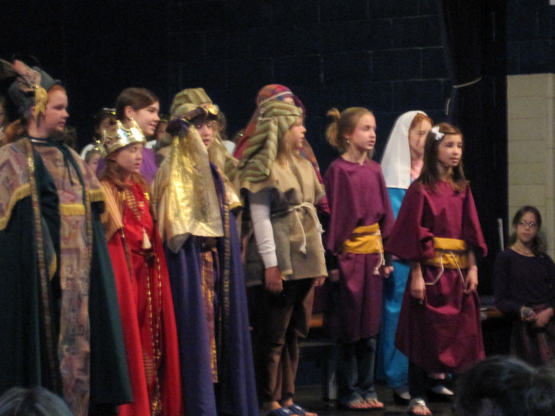 CHRISTMAS PLAY AT OLPH ... KILEY PLAYS THE ROLE OF JOSEPH, WHILE CONNOR AND JAKE ARE THE SINGING ANGELS IN THE REAR