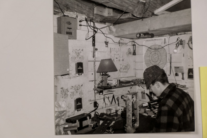 John's workbench in our basement at Willow Brooke Farm near St Andrews East, Que.  ca 1961. Soldering while building a Heathkit Power Amplifier and Tuner kit with tubes!  I learned a lot about electronic circuitry, still useful today!