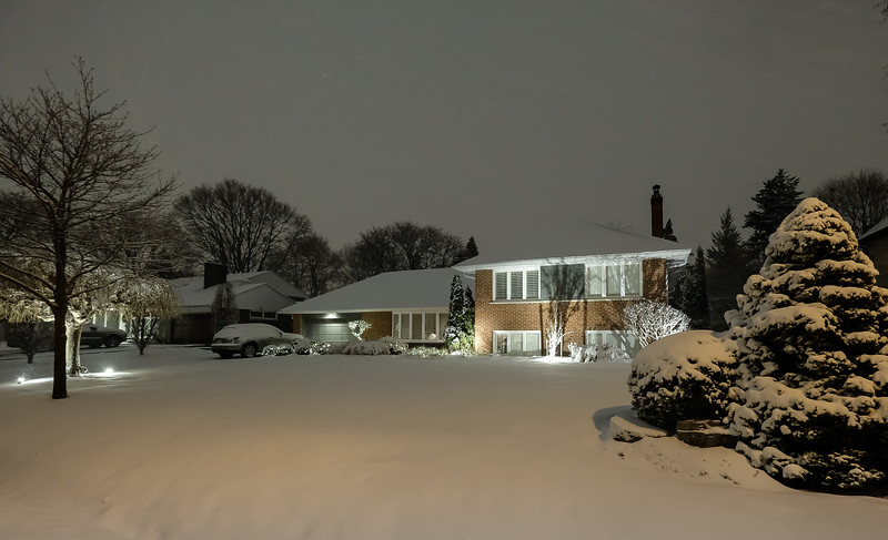 Our home for past 20 years - 51 Abilene Dr - taken Dec 25, 2020 2am after our 2nd major snowfall of the season..