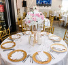 The regular hotel dining area setup was transformed beautifully with very elegant decor and table settings