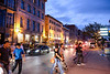 Rue de la Commune, with many restaurants facing the tree-lined promenade..