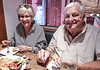Liz with my  bro Don ....  Enjoying Tacos.