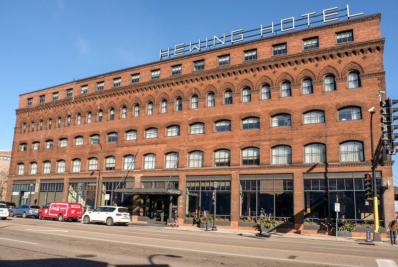 The Hewing Hotel at 300 Washington Street N. Very nice hotel with  great facilities.