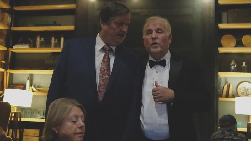 Brief Video!!!   While waiting to leave for the  reception, John Kulesza (Jordan's dad) with a fellow barber shop singer, Kevin from Florida. Great harmony!!
