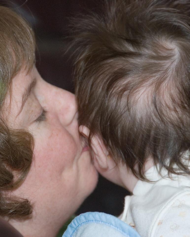 I love it when Mom kisses me.