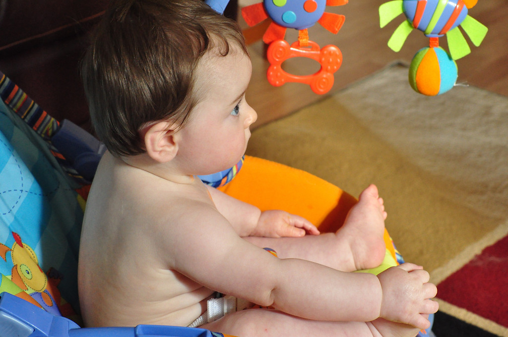 """Dinner is done and I'm watching """"Baby Einstein"""" on TV."""