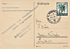 A card sent from Munich to Berlin on April 20th, 1938, with stamp to celebrate the Anschluss but no message. I'm not sure but I think the stamp says 'Not special - not to be signed for'.
