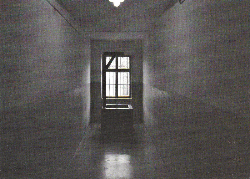 AUSCHWITZ - Portable gallows in the corridor of Block II, Such gallows were used for executions of prisoners in the camp.