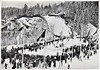 Volume 1/  7/Set 55- The glorious goal of the downhill skiing on Kreuzecktal in the magnificent winter dress of the second Olympic day.
