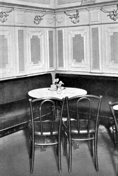 28/006 - AN HISTORIC CORNER OF A COFFEE HOUSE IN THE GASTEIG IN MUNICH. Here sat the first seven members of the Party.