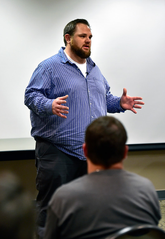 . LONGMONT CO AUGUST 4, 2018 Columbine High School shooting survivor Evan Todd details to the crowd the events from the shooting at the school during a meeting for FASTER the Faculty / Administrator Safety Training & Emergency Response, at the Longmont Public Library on Saturday August 4 2018 Paul Aiken Staff Photographer August 4, 2018