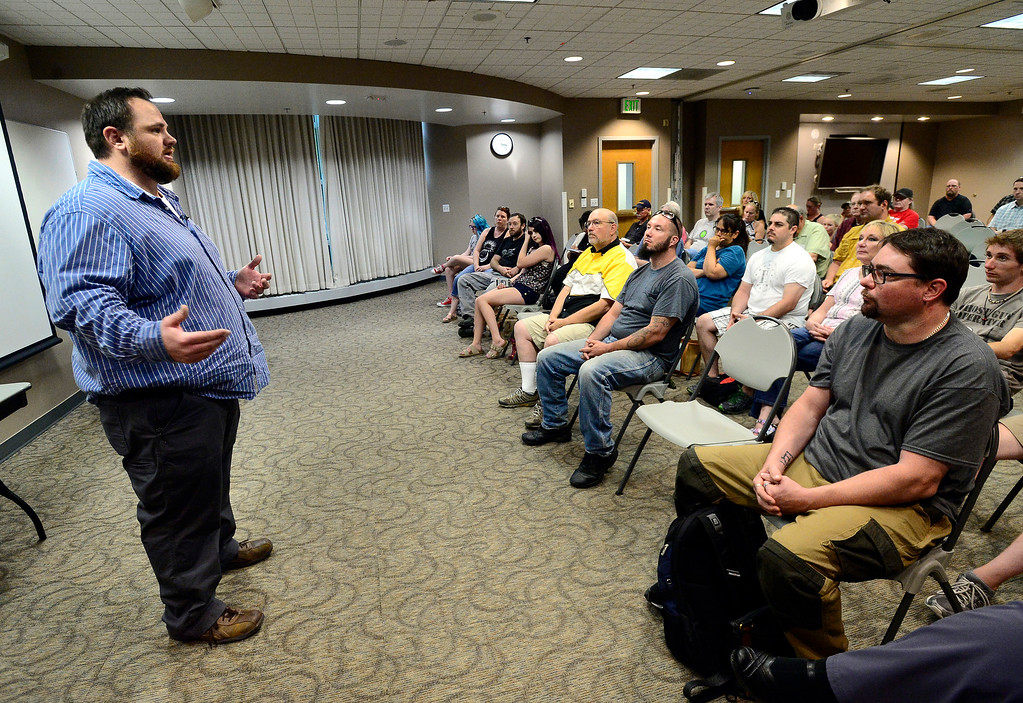 . 2ND BEST   LONGMONT CO AUGUST 4, 2018 Columbine High School shooting survivor Evan Todd details to the crowd the events from the shooting at the school during a meeting for FASTER the Faculty / Administrator Safety Training & Emergency Response, at the Longmont Public Library on Saturday August 4 2018 Paul Aiken Staff Photographer August 4, 2018