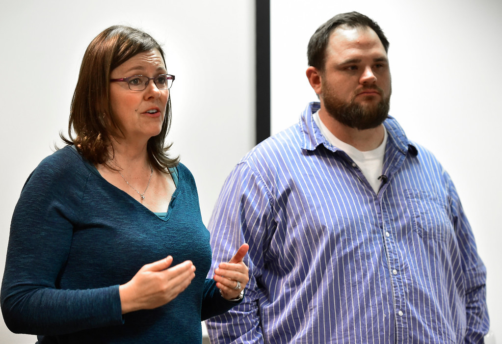. LONGMONT CO AUGUST 4, 2018 Laura Carno, co-founder of FASTER the Faculty / Administrator Safety Training & Emergency Response, and Columbine High School shooting survivor Evan Todd answers questions from the crowd during a meeting at the Longmont Public Library on Saturday August 4 2018 Paul Aiken Staff Photographer August 4, 2018