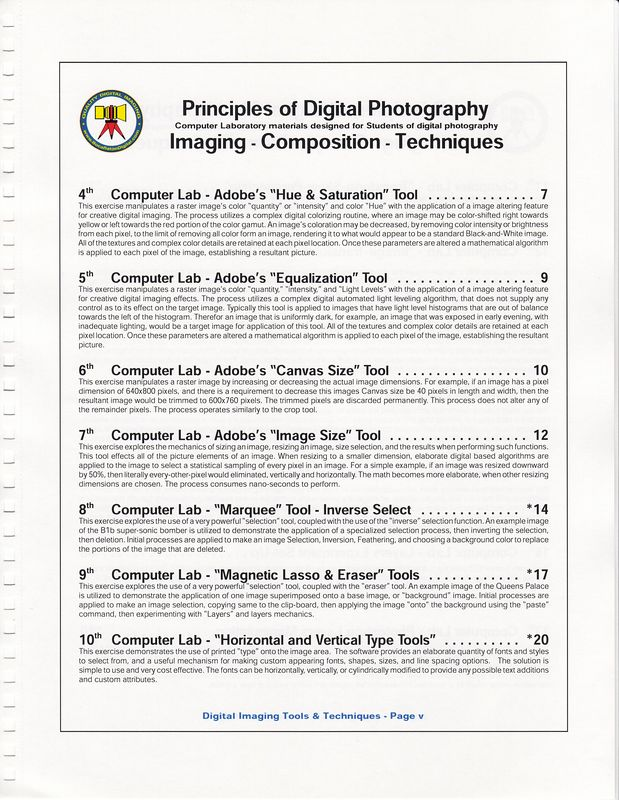 This page is from the Table of Contents, which shows the title for each exercise, and a brief set-up to describe the technique's use in digital imaging.