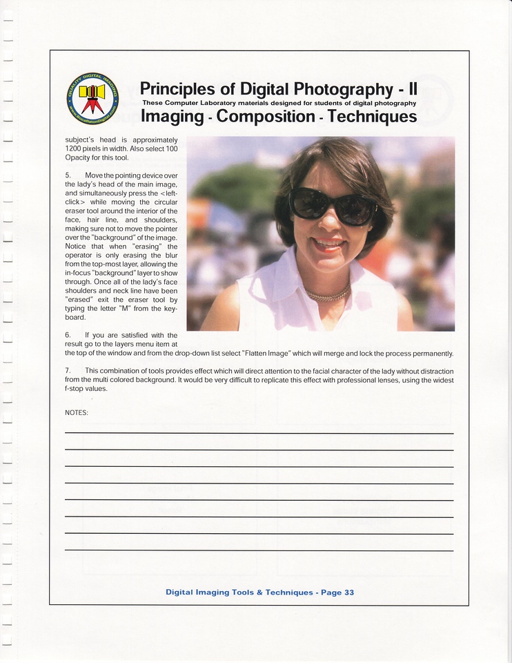 "This page from the Lab Manual describes a useful technique in this new world of Digital Imaging. The attractive subject is my wife at a recent Boca Raton civic event ""meet me down town."""