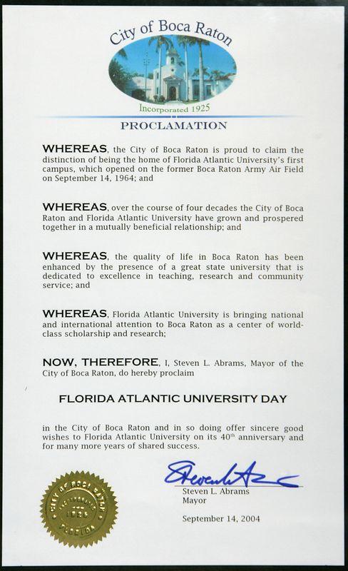 Florida Atlantic University Day Proclamation by City of Boca Raton