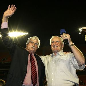 Howard Schnellenberger and Don Shula celebrating victory of FAU matchup with FIU speaking at Pro Player Stadium