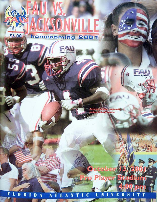 13 Oct 2001 Program Cover FAU vs Jacksonville